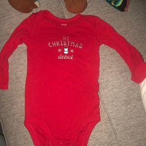 Adorable first Christmas red onesie
